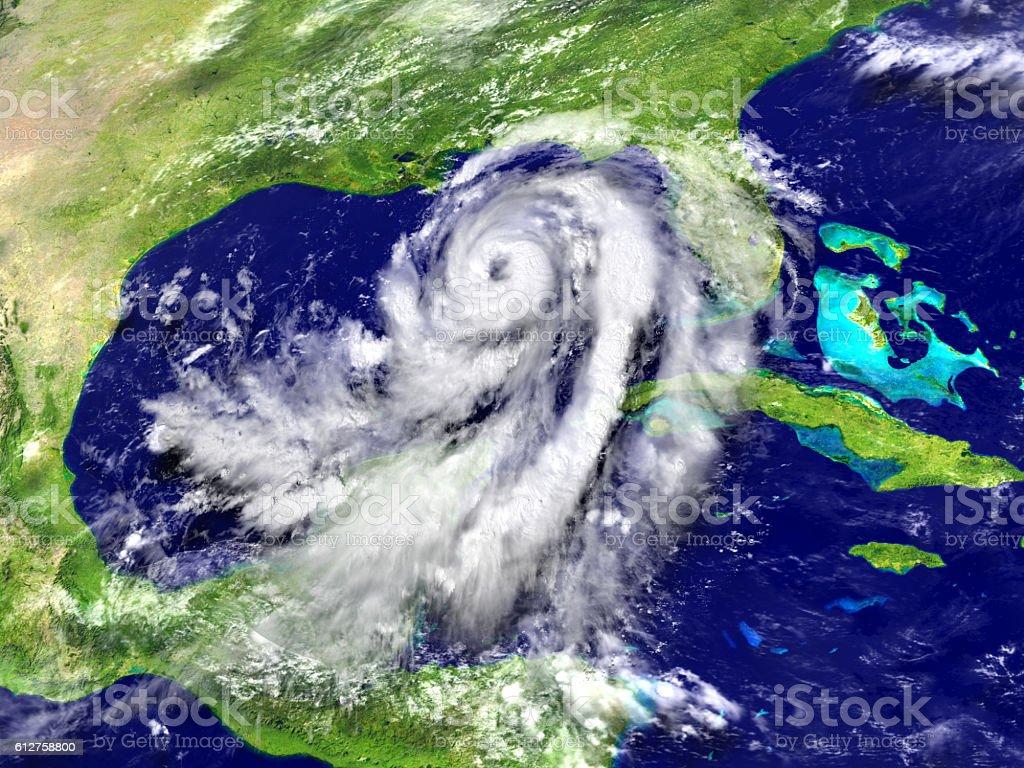Huge hurricane Matthew in Mexican gulf stock photo