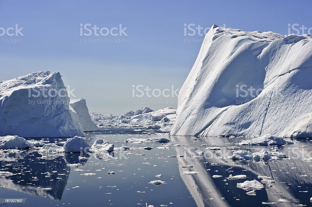 Huge iceberg in the Jacobshavn icefjord, Greenland stock photo