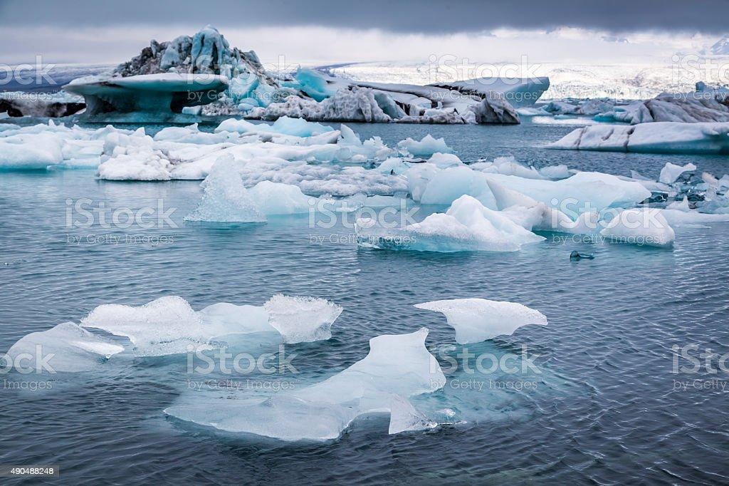 Huge icebergs floating on the lake, Iceland stock photo