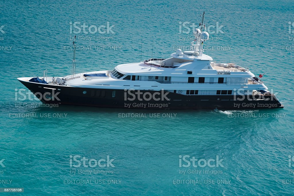 Huge luxury yacht in the waters of St. Thomas stock photo