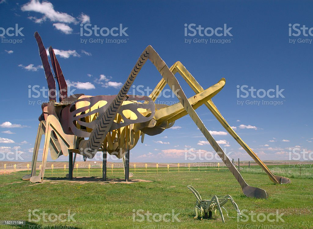 Huge Metal Grasshoppers on North Dakota's Enchanted Highway royalty-free stock photo