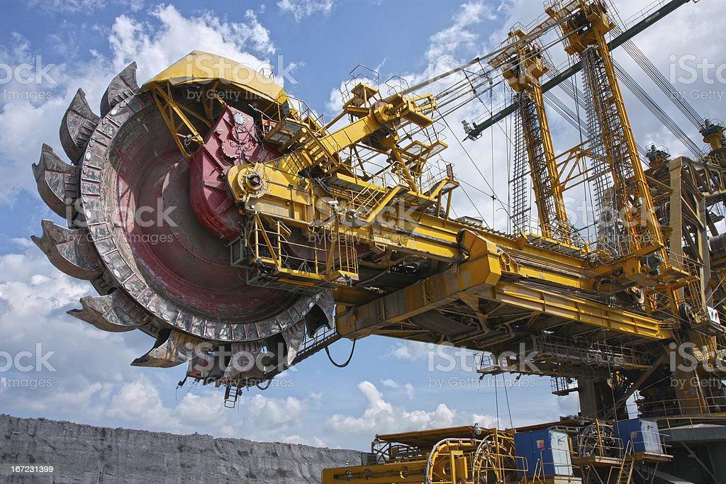 huge mine excavator for brown coal stock photo