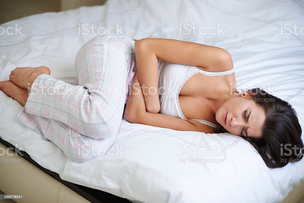 Huge morning pain of stomach stock photo