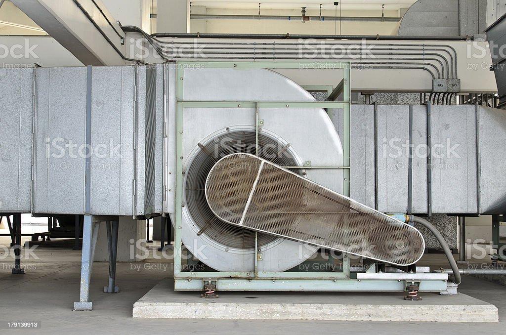 Huge motor blower for chiller stock photo