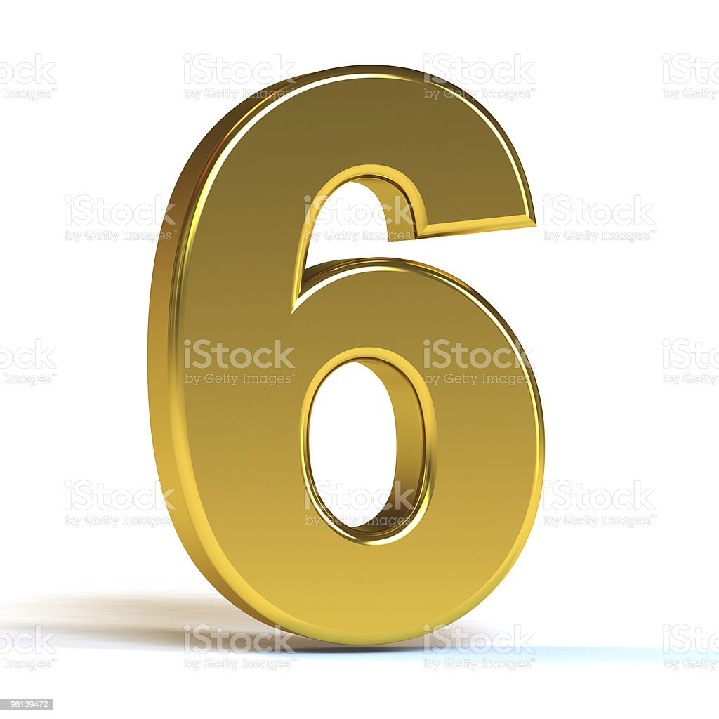 Huge number 6 in gold isolated on white background royalty-free stock photo