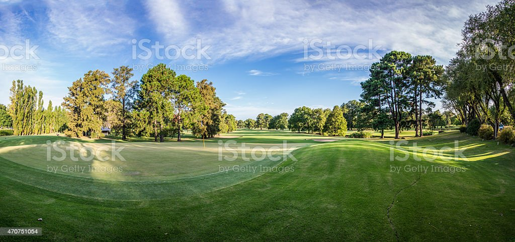Huge Panorama of beautiful golf course landscape. stock photo