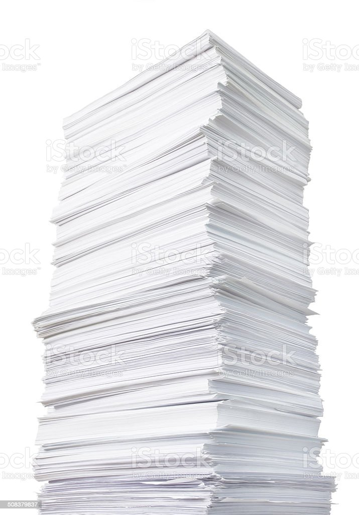 huge paper stack stock photo