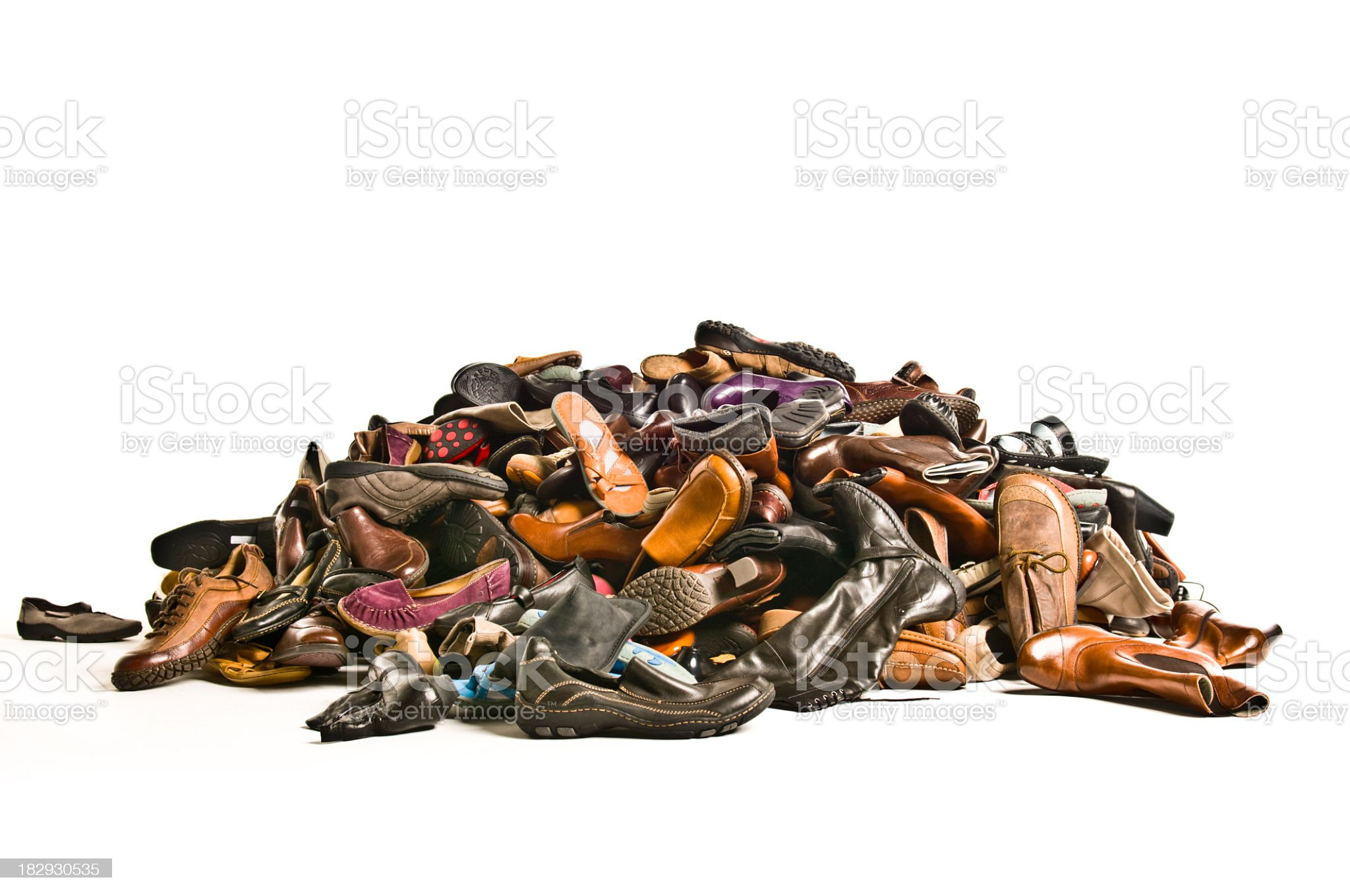 huge pile of new shoes royalty-free stock photo