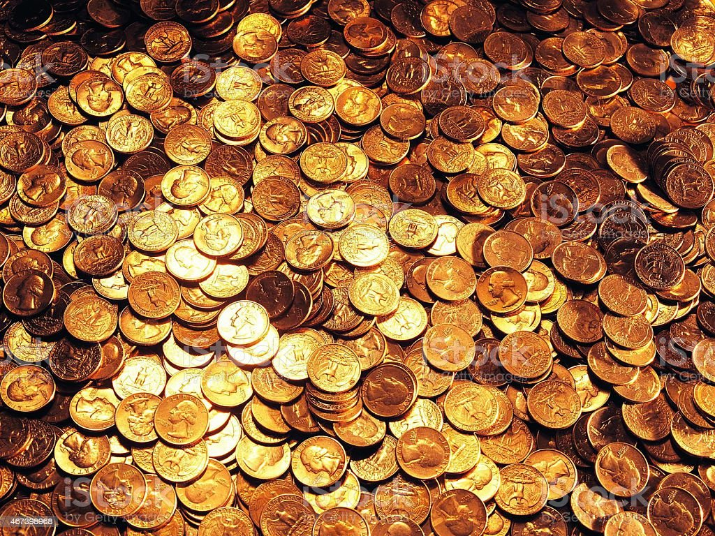 Huge pile of the US coins stock photo