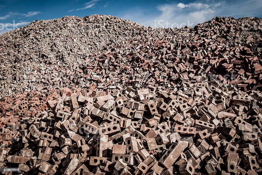 Huge Piles of Block and Brick Rubble at Brickyard stock photo
