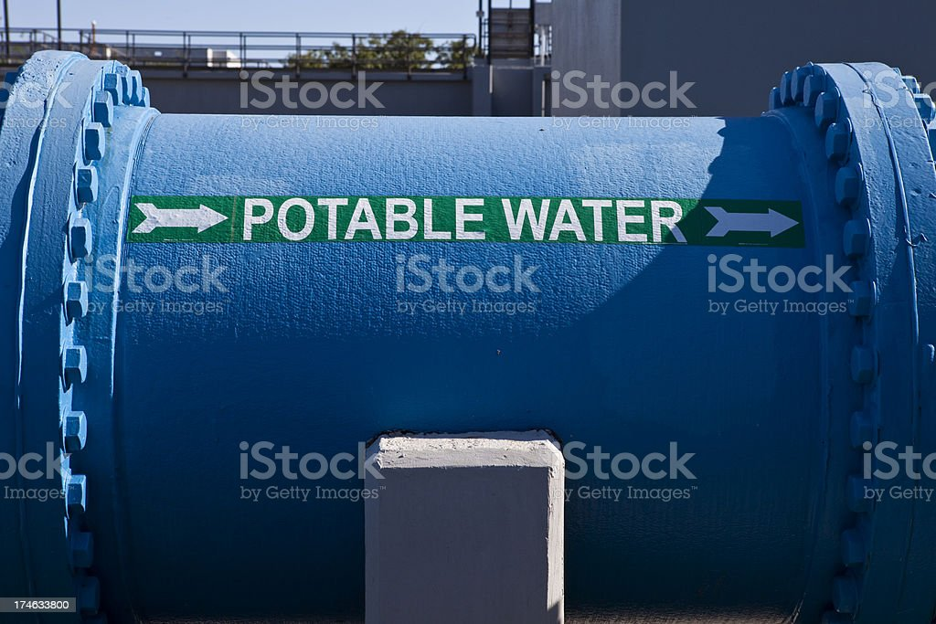 Huge Pipe Carries Fresh H2O From Water Purification Plant royalty-free stock photo