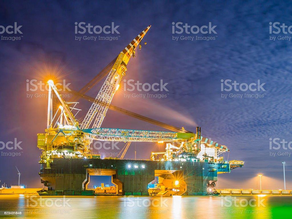 Huge Pipelay Crane Vessel stock photo