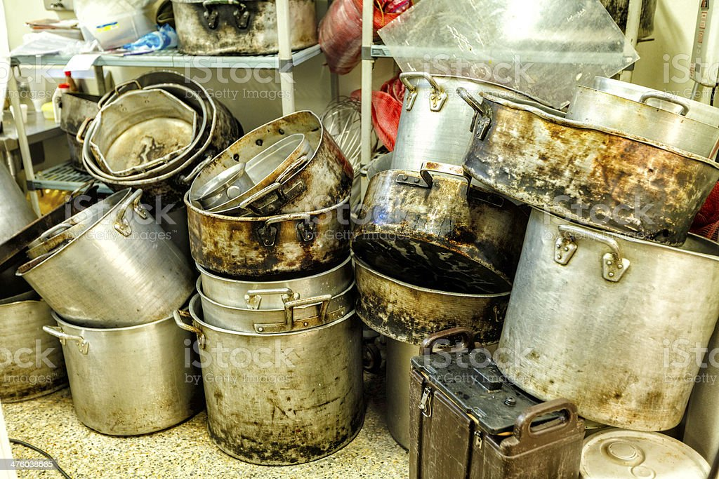 Huge pot depot in kitchen stock photo