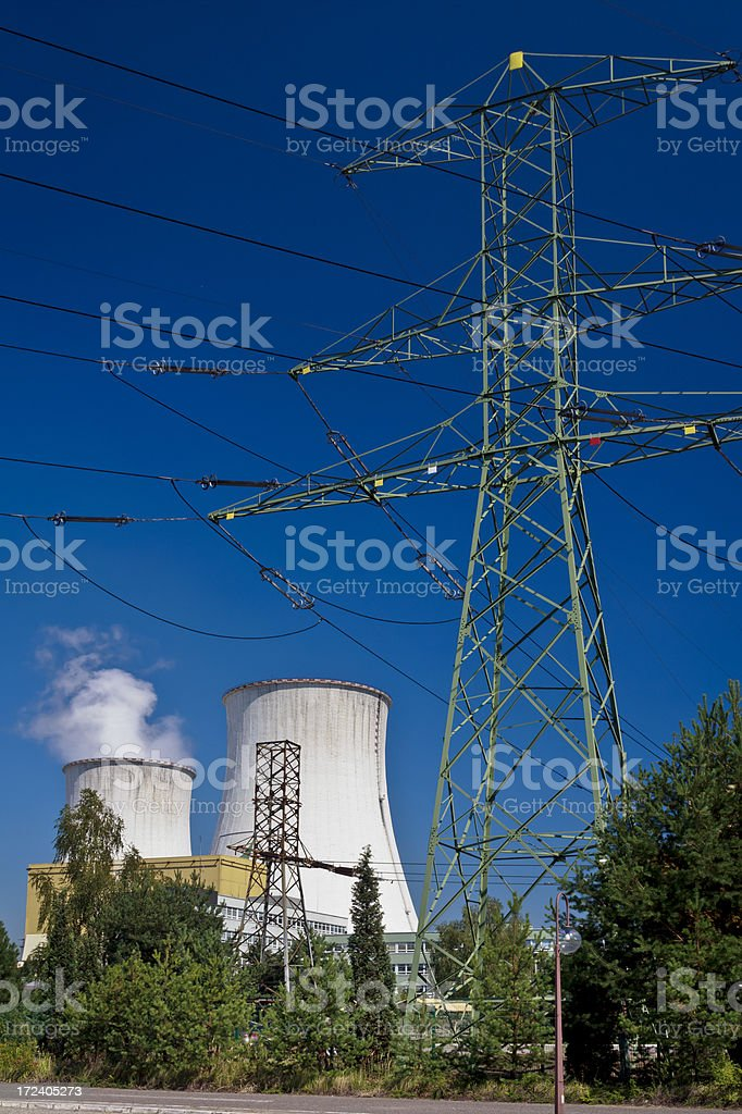 Huge power station chimneys and power lines royalty-free stock photo