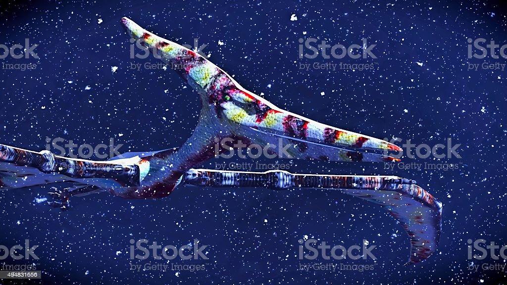 Huge pterodactyl over land stock photo