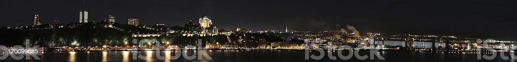 Huge Quebec city panorama at night royalty-free stock photo