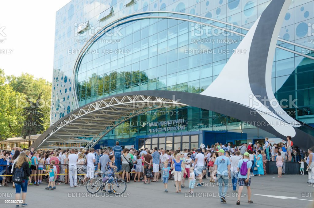 Moscow, Russia - August 10, 2015: Huge queue of people to open a center for Oceanography and Marine Biology