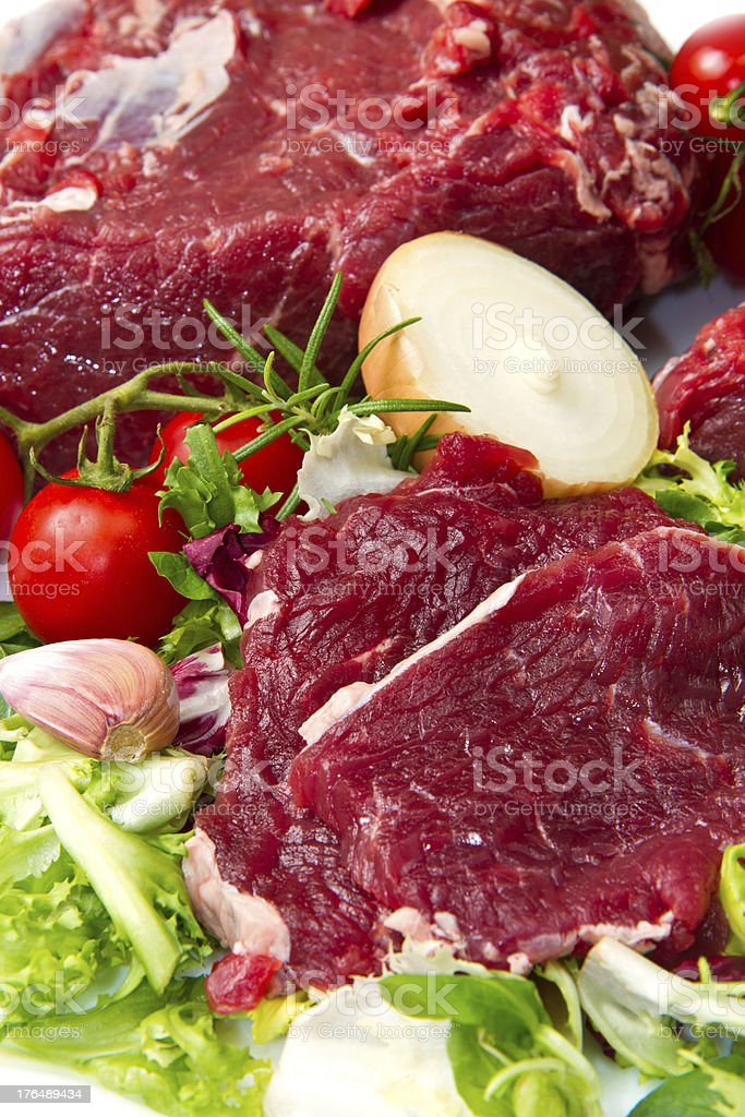 huge red meat chunk isolated over white background royalty-free stock photo