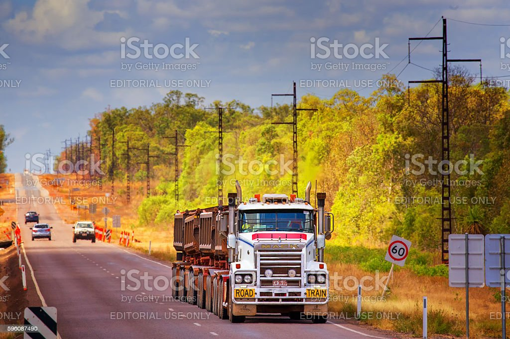 Huge road train in the Australian outback stock photo