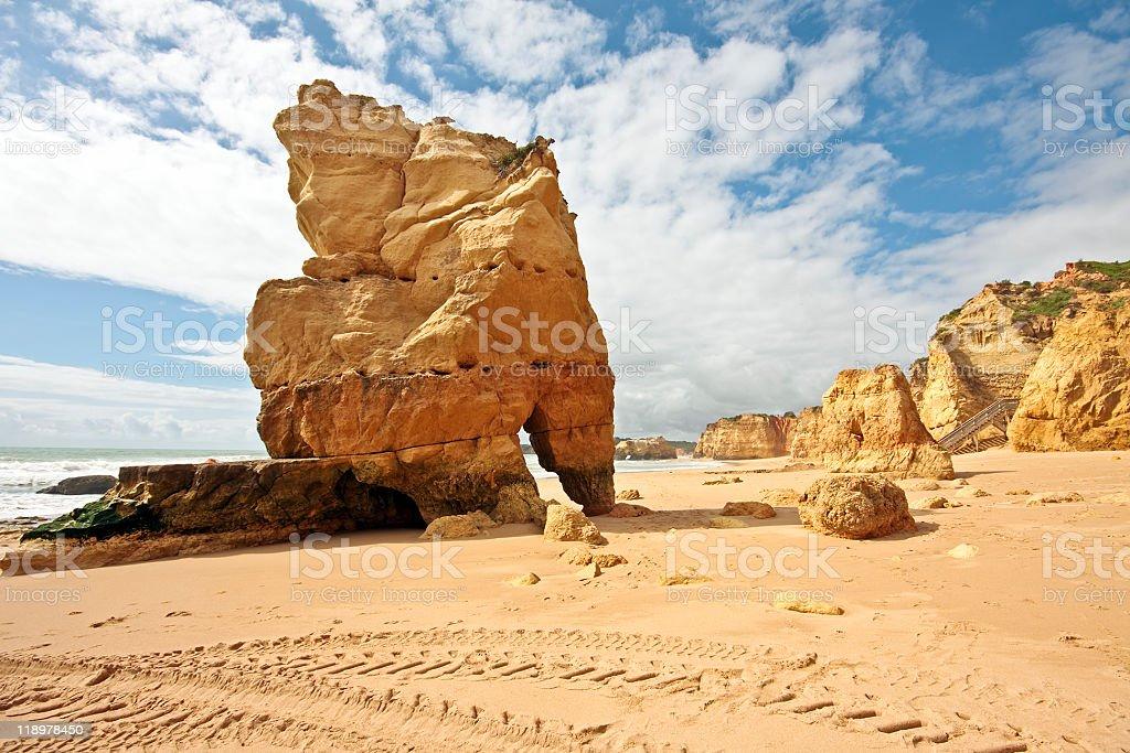 Huge rocks at Praia da Rocha in Portugal stock photo