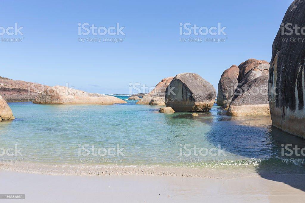 Huge Rocks in the Sea at Williams Bay Western Australia stock photo