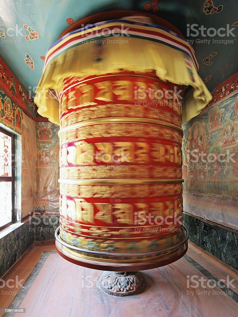 Huge rotating praying drum in Boudha Nath, Kathmandu, nepal royalty-free stock photo