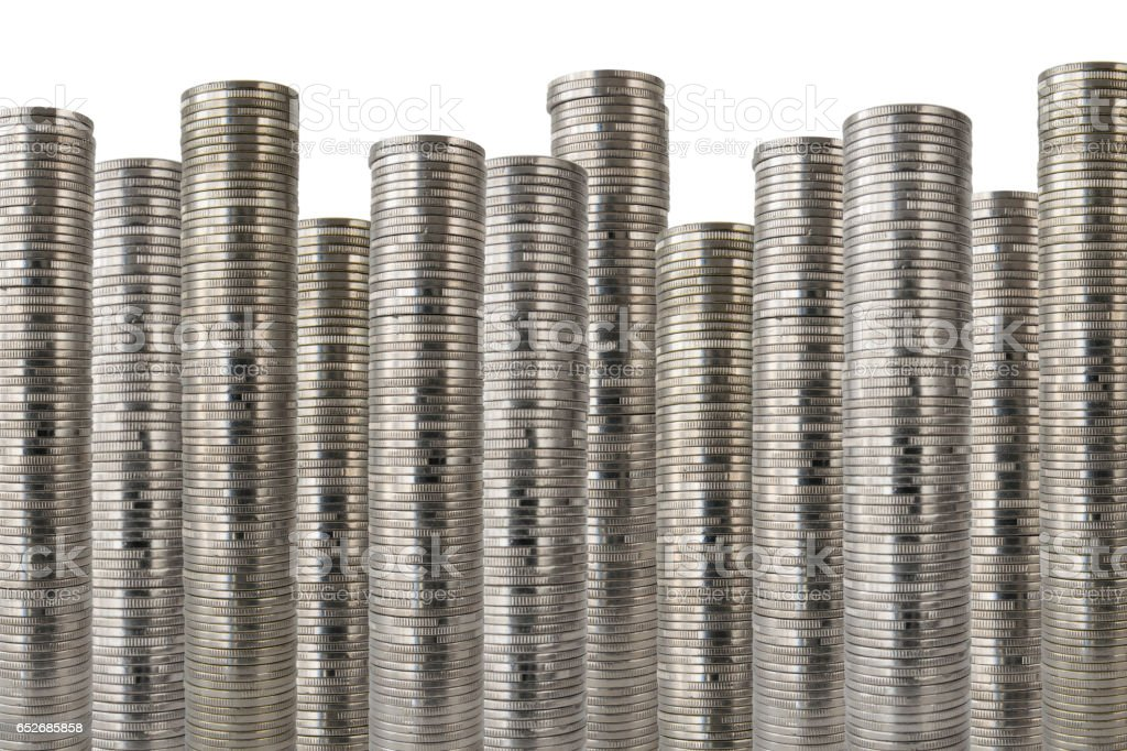 huge rows of coins stock photo