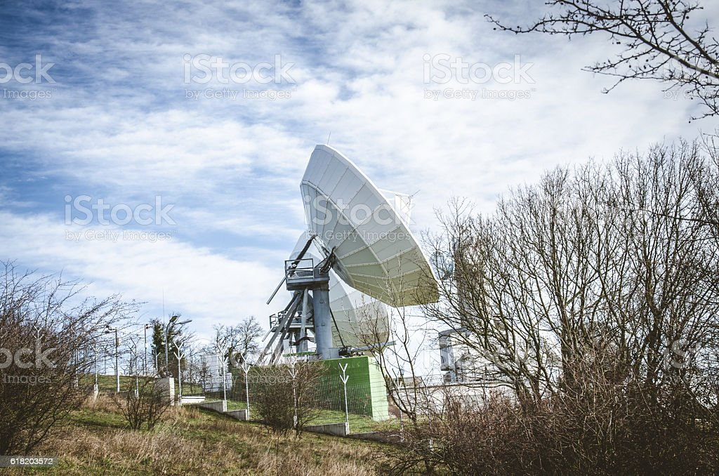 huge sattelite transmitter stock photo