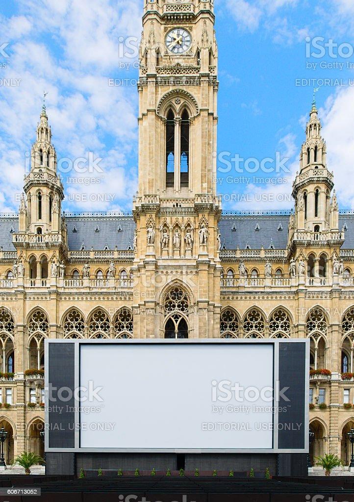 Huge screen for the film festival in Vienna Austria stock photo