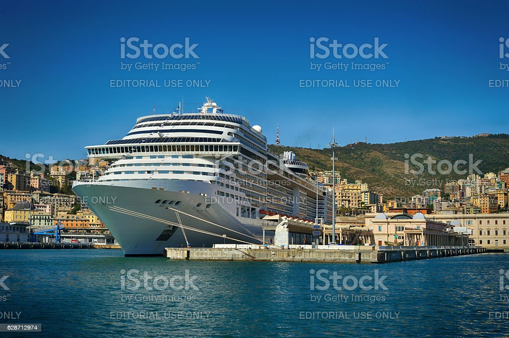 Huge sea cruise ferry in the Genova port, Italy stock photo
