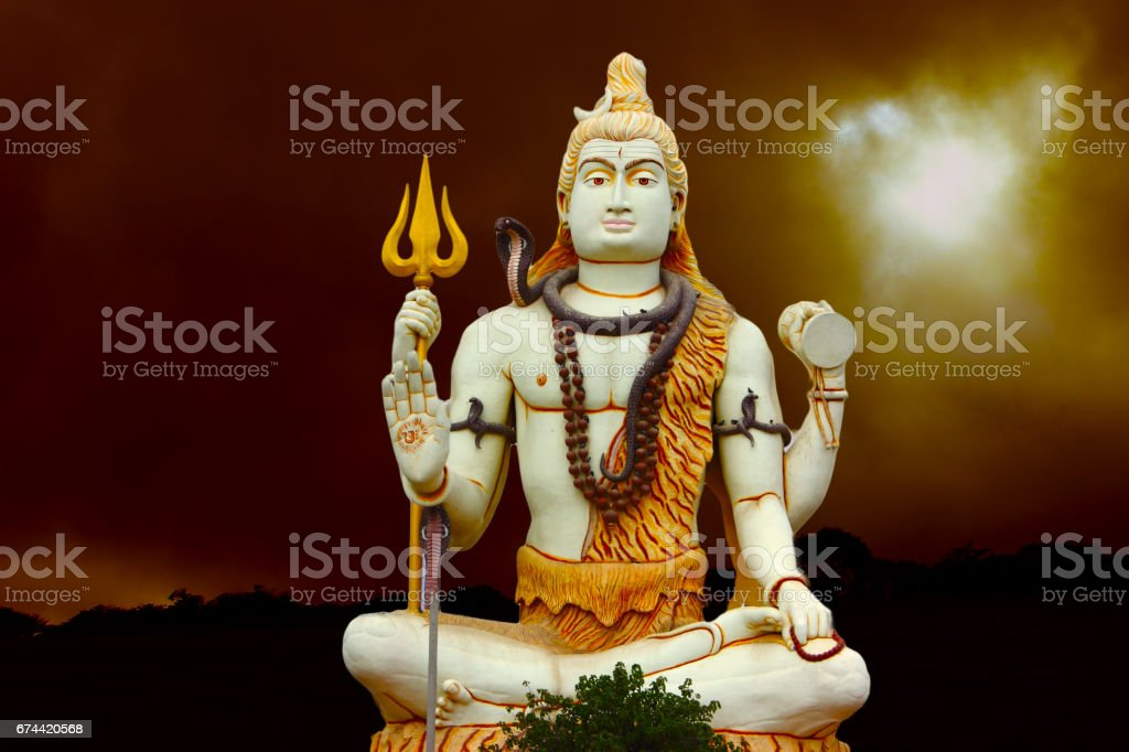 Huge Shiva Statue at Nageshwar Jyotirlinga Temple stock photo