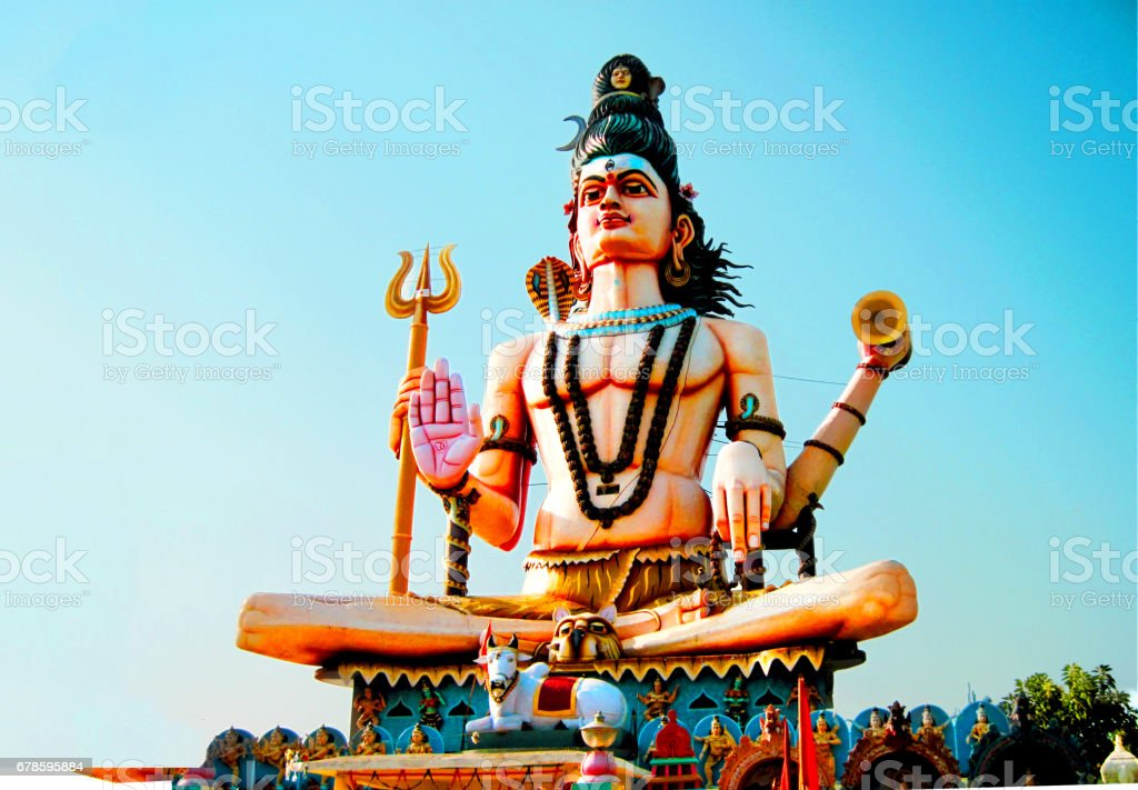 Huge Shiva Statue at Parikrima path in Omkareshwar, Madhya Pradesh, India stock photo