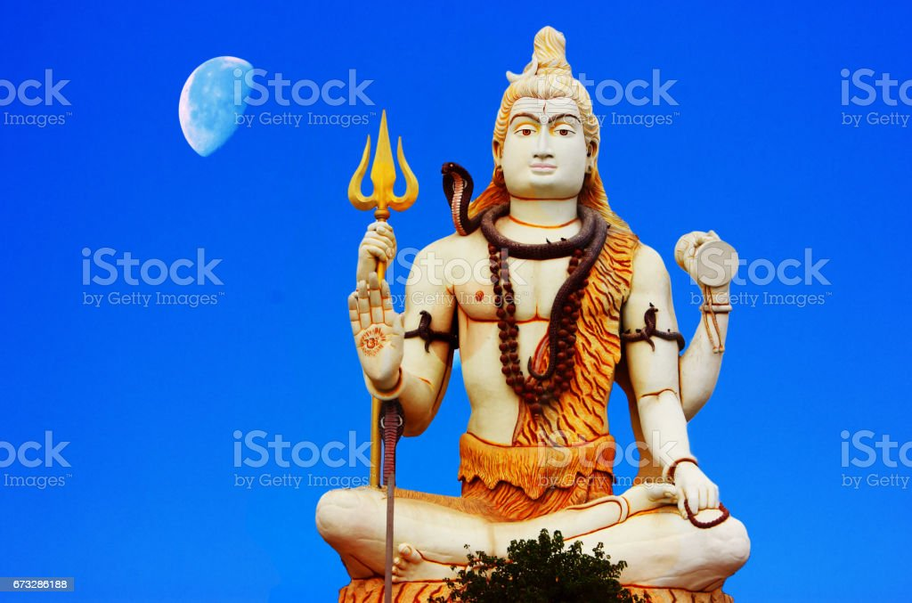 Huge Shiva Statue with moon at Nageshwar Jyotirklinga Temple stock photo