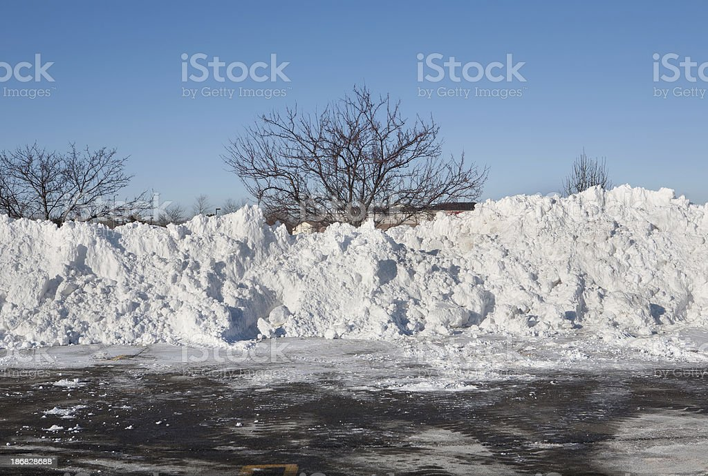 huge snowpiles in plowed parking lot royalty-free stock photo