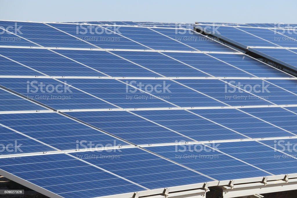Huge solar panels stock photo