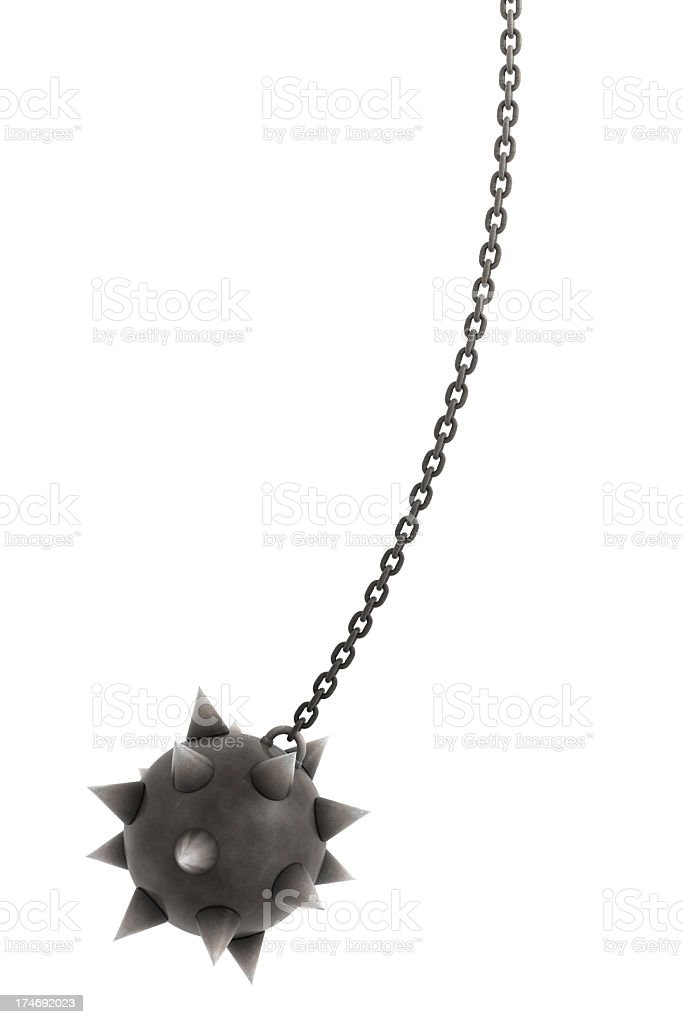 Huge spiky ball on chain stock photo