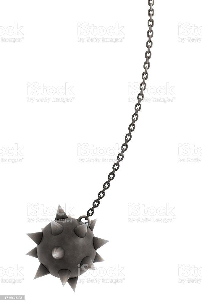 Huge spiky ball on chain stock photo