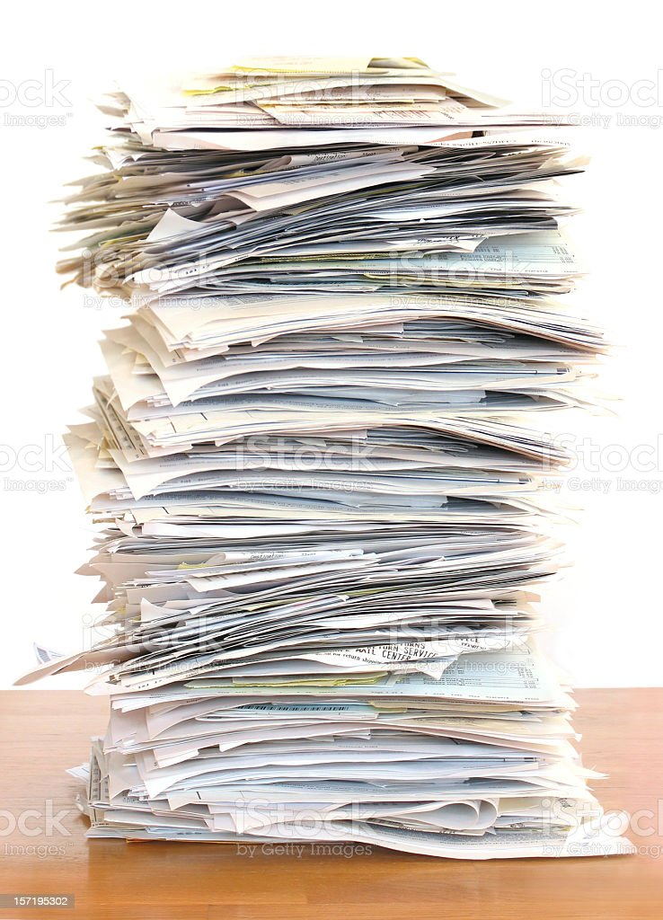 Huge Stack of Papers stock photo