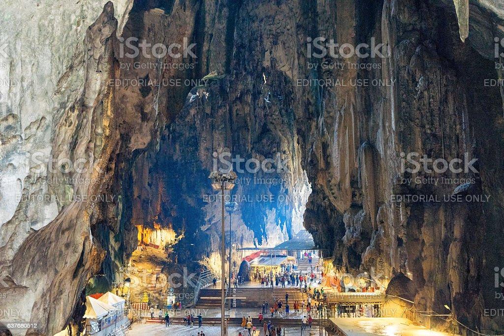 Huge stalactites in the Batu Caves  Kuala Lumpur Malaysia stock photo
