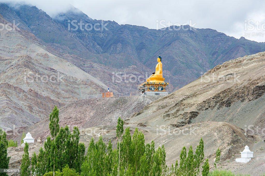 Huge statue of Buddha in Stok Palace, Ladakh, India stock photo
