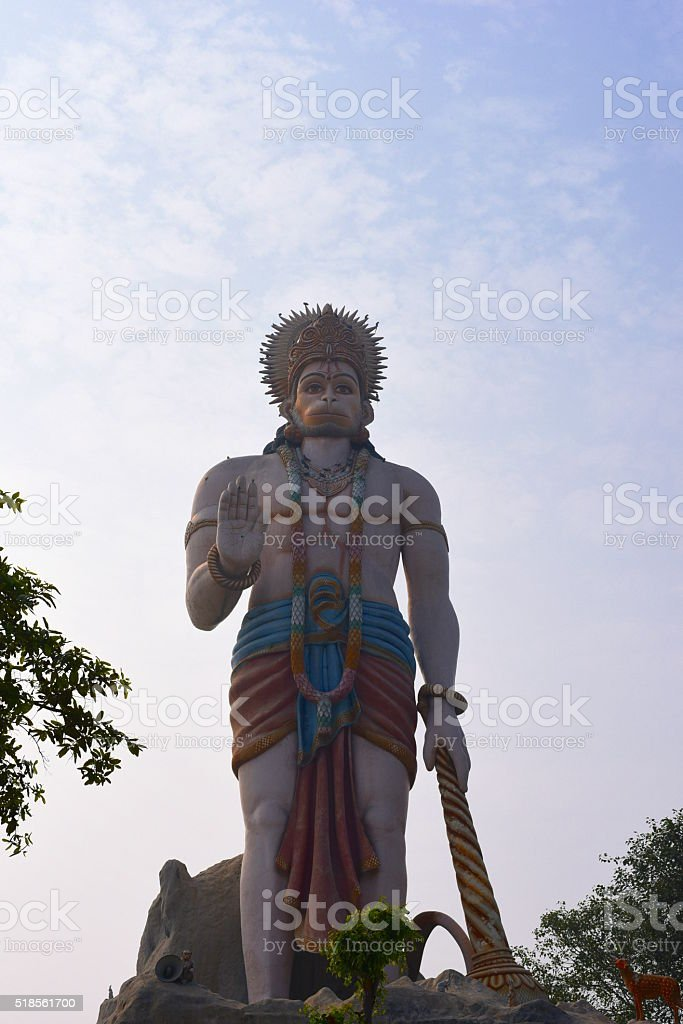 Huge statue of Hindu God Hanuman stock photo