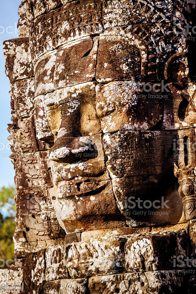 huge stone head in Angkor Wat, Cambodia royalty-free stock photo