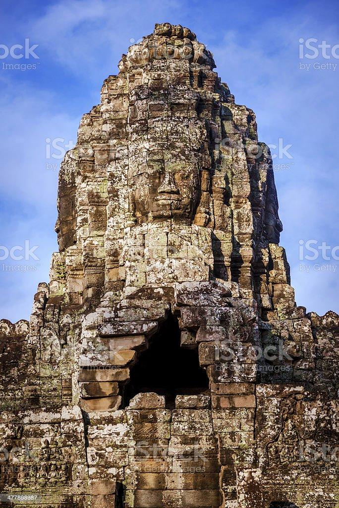 huge stone head in Angkor Wat, Cambodia royalty-free stock photo