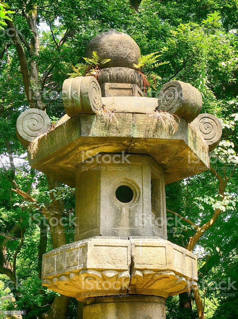 Huge stone lantern, Tokyo, Japan stock photo