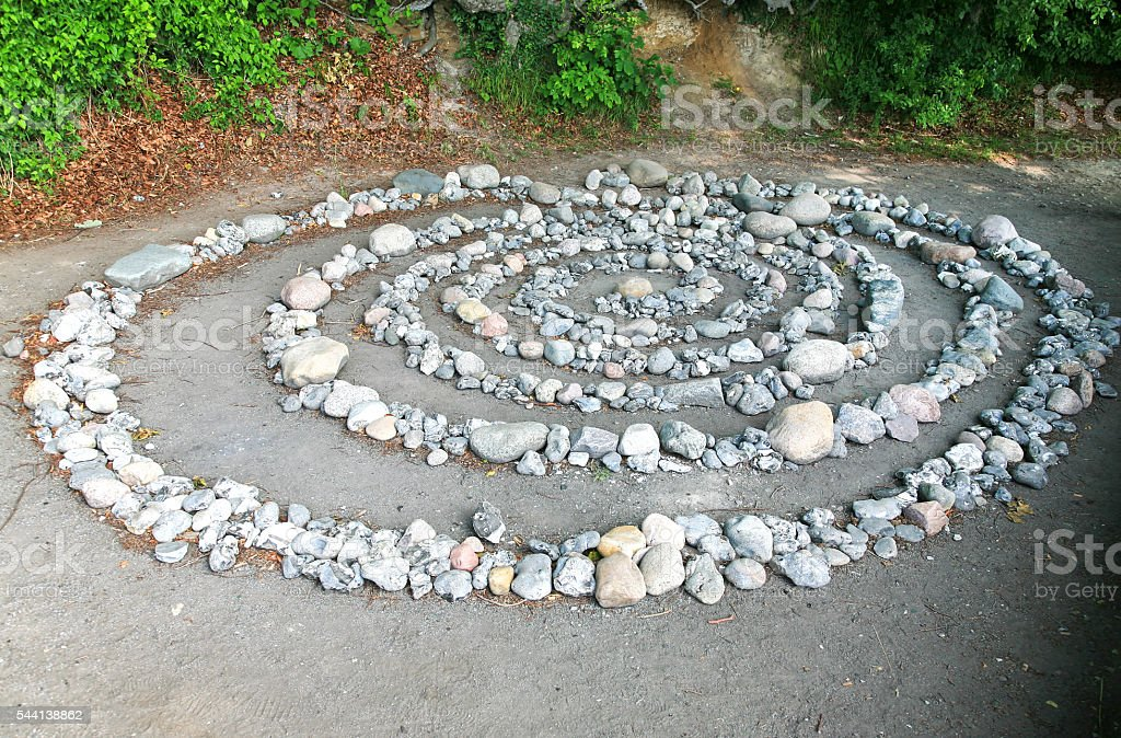 Huge stone spiral stock photo