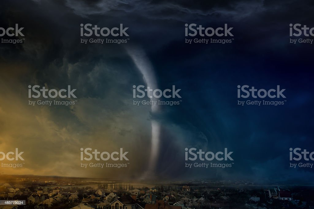 Huge tornado stock photo