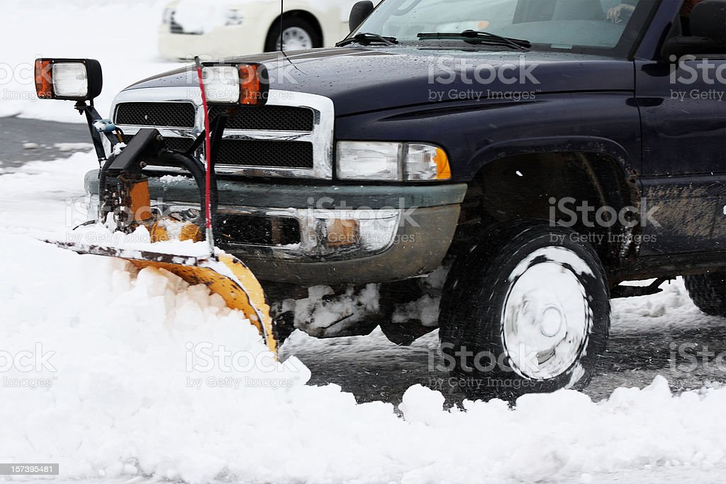 huge truck with plow removing snow royalty-free stock photo