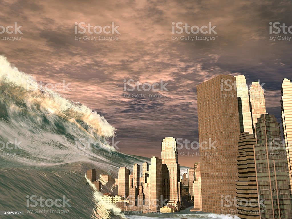 Huge tsunami sweeping city stock photo
