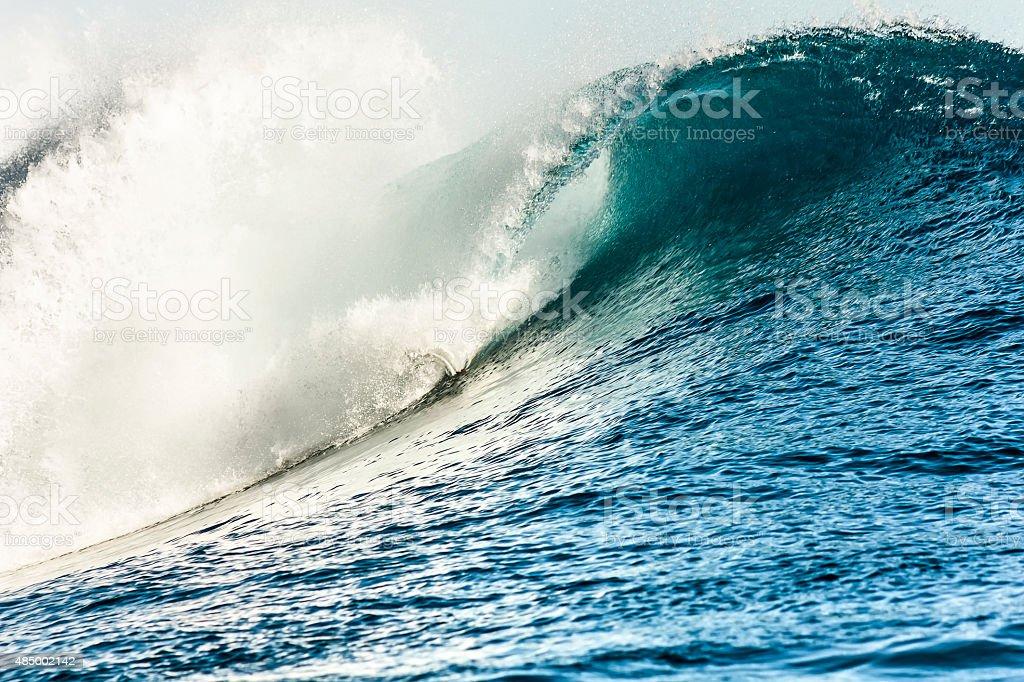 Huge Tube Wave in Teahupo'o Beach stock photo