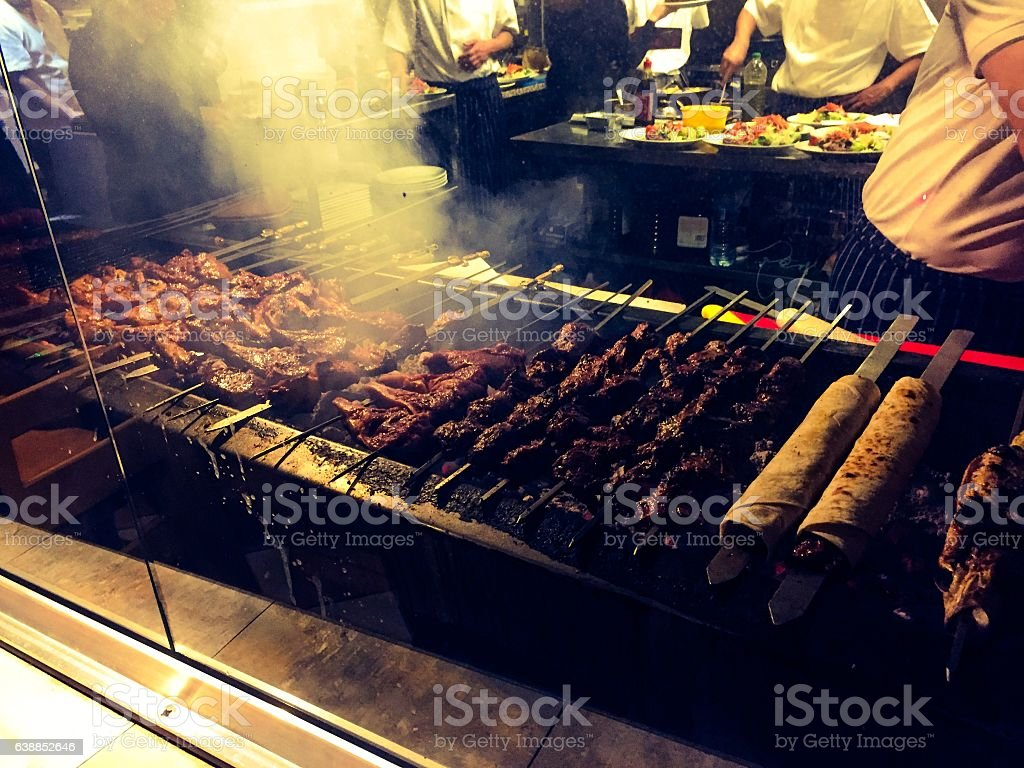 Huge Turkish kebab grill stock photo